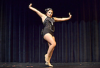 NWA Democrat-Gazette/BEN GOFF @NWABENGOFF<br /> Cameron Kyzer performs a jazz dance routine on Thursday Sept. 24, 2015 during Talent Night of the Miss Bentonville High School Scholarship Pageant in the school's Arend Arts Center. Evening gown, finals and awards for the pageant will be held at the school on Saturday at 7:00p.m.
