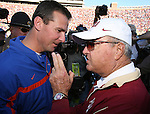 Florida State head coach Bobby Bowden, right, talks with University of Florida second-year head coach Urban Meyer after Meyer and his Gators defeated the Seminoles 21-14 in their NCAA football game at Bobby Bowden Field in Tallahassee, Florida November 25, 2006. (Mark Wallheiser/TallahasseeStock.com)