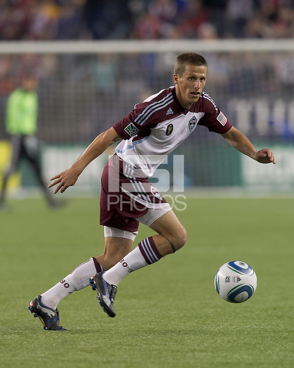 Colorado Rapids midfielder Wells Thompson (15) at midfield. In a Major League Soccer (MLS) match, the New England Revolution tied the Colorado Rapids, 0-0, at Gillette Stadium on May 7, 2011.