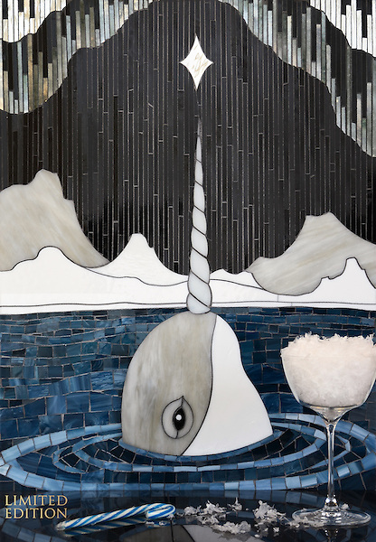Narwhal, a one of a kind hand-cut and waterjet jewel glass mosaic, designed by Cean Irminger for New Ravenna.