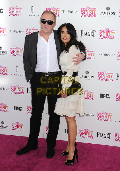 Francois-Henri Pinault & Salma Hayek.2013 Film Independent Spirit Awards - Arrivals Held At Santa Monica Beach, Santa Monica, California, USA,.23rd February 2013..indy indie indies indys full length white shirt dress suit arm over shoulder around black belt clutch bag side married husband wife .CAP/ROT/TM.©Tony Michaels/Roth Stock/Capital Pictures