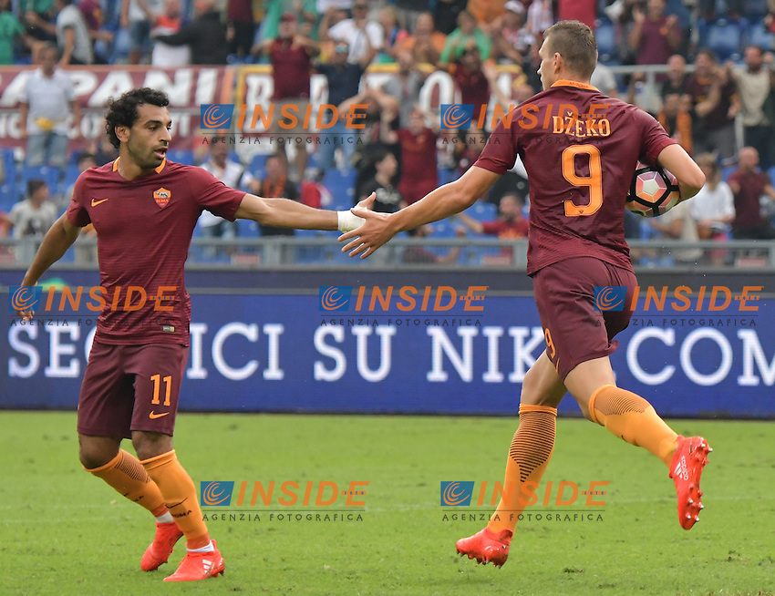 Gol Edin Dzeko Roma Goal celebration 2-2 with Mohamed Salah <br /> Roma 11-09-2016 Stadio Olimpico  <br /> Football Calcio Serie A AS Roma - Sampdoria <br /> Foto Andrea Staccioli / Insidefoto