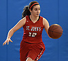 Allie Ponzio #12 of St. John the Baptist dribbles downcourt during a non-league girls basketball game against North Babylon at Robert Moses Middle School in North Babylon on Saturday, Dec. 22, 2018. North Babylon won by a score of 71-61.