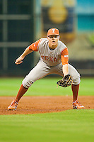 Texas Longhorns third baseman Erich Weiss #6 on defense against the Tennessee Volunteers at Minute Maid Park on March 3, 2012 in Houston, Texas.  The Volunteers defeated the Longhorns 5-4.  (Brian Westerholt/Four Seam Images)