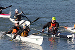 La Conner, Swinomish Channel, open water race, Sound Rowers Open Water Rowing and Paddling Club, Washington State, Pacific Northwest,  USA, HPK paddlers RtoL: Shane Martin, Shaun Sullivan and Larry Goolsby in a double and Don Kiesling