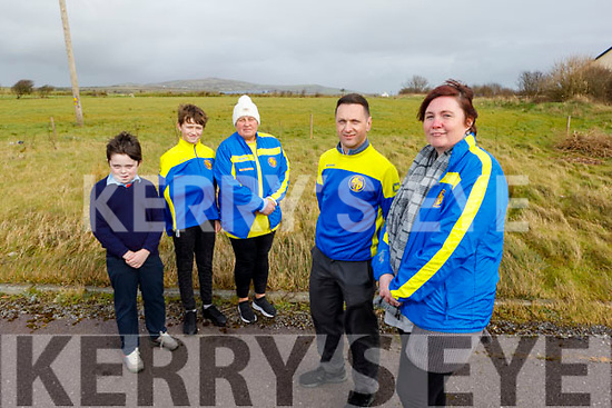 Members of LB Rovers soccer club at the council field that he hopes LB Rovers can use for training near the Tinteáin Theatre in Ballybunion on Tuesday<br /> Front l to r: Owen O'Mahony and Marie Slattery (Chairman).<br /> Back l to r: Aaron O'Carroll, Leigh and Leesha Meahan.