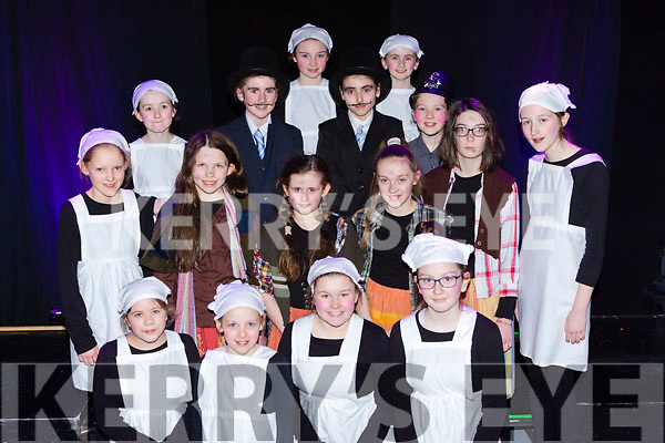 cast members at the Mary Poppins musical in Killarney on Sunday were Olivia Key, Amy Pigeon, Elaine Cronin, Jennifer Culloty Middle row: Laura Daly, Aine Broderick, Jasmine O'Sullivan, amber Foley, Abhoinn Kearney Megan Dennehy. Back row: Katie Conway, Clodagh Coffey, Amy Rose O'Sullivan, Aoife Fleming, Lauren Coffey, Aisling O'Neill,