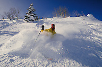 Tom Castrigno (MR27) Alpine Skiing in the deep powder, Wasatch Mountains, Solitude Ski Area, near Salt Lake City, UT. Tom Castrigno (MR27). Salt Lake City, Utah.