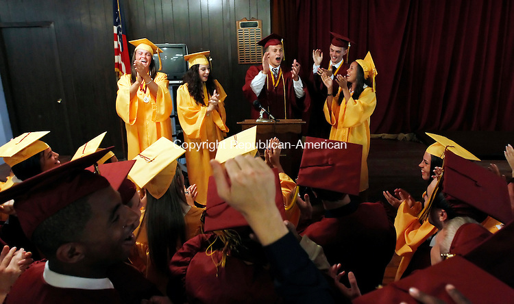 Waterbury, CT-04, June 2010-060410CM11 Sacred Heart student council members celebrate before the start of Sacred Heart Graduation Friday evening at the Immaculate Conception church in downtown Waterbury. --Christopher Massa Republican-American