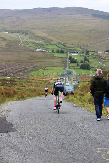 Riders descend the first Cat 1 climb Mamore Gap during Stage 4 of the 2017 An Post Ras running 151.8km from Bundoran to Buncrana, Ireland. 24th May 2017.<br /> Picture: Andy Brady | Cyclefile<br /> <br /> <br /> All photos usage must carry mandatory copyright credit (&copy; Cyclefile | Andy Brady)