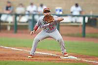 Greeneville Reds first baseman Raul Juarez (39) waits for a throw during the game against the Pulaski Yankees at Calfee Park on June 23, 2018 in Pulaski, Virginia. The Reds defeated the Yankees 6-5.  (Brian Westerholt/Four Seam Images)