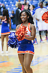 Texas-Arlington Mavericks cheerleaders in action during the game between the Arkansas Little Rock Trojans and the Texas Arlington Mavericks at the College Park Center arena in Arlington, Texas. UALR defeats UTA 72 to 70.