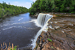 A very picturesque waterfall, Tahquamenon Falls and the Tahquamenon River in Summer, Michigan's Upper Peninsula, USA
