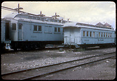 Old coaches (one is X3270) at Salida yard.  Twin tanks in background.<br /> D&amp;RGW  Salida, CO