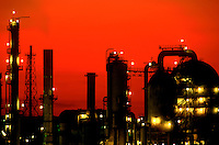 Oil refinary at dusk.