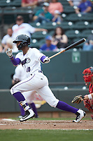 Ti'Quan Forbes (10) of the Winston-Salem Dash follows through on his swing against the Salem Red Sox at BB&T Ballpark on April 22, 2018 in Winston-Salem, North Carolina.  The Red Sox defeated the Dash 6-4 in 10 innings.  (Brian Westerholt/Four Seam Images)