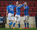 St Johnstone v Ross County....22.11.14   SPFL<br /> Michael O'Halloran celebrates his goal with Lee Croft<br /> Picture by Graeme Hart.<br /> Copyright Perthshire Picture Agency<br /> Tel: 01738 623350  Mobile: 07990 594431