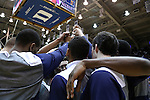 07 February 2015: Notre Dame players huddle before the game. The Duke University Blue Devils hosted the University of Notre Dame Fighting Irish at Cameron Indoor Stadium in Durham, North Carolina in a 2014-16 NCAA Men's Basketball Division I game. Duke won the game 90-60.
