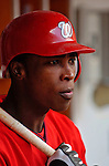 3 September 2006: Alfonso Soriano, left fielder for the Washington Nationals, awaits his step up to the on-deck circle in a game against the Arizona Diamondbacks. The Nationals defeated the Diamondbacks 5-3 at Robert F. Kennedy Memorial Stadium in Washington, DC. The win marked the fourth straight game in which the Nationals came back from a  two or more run deficit after seven innings of play - a feat last accomplished by the 1923 New York Giants.Mandatory Photo Credit: Ed Wolfstein.