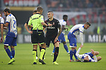 The referee Davide Massa shows a yellow card to Rade Krunic of AC Milan for a foul on Gaston Ramirez of Sampdoria during the Serie A match at Giuseppe Meazza, Milan. Picture date: 6th January 2020. Picture credit should read: Jonathan Moscrop/Sportimage