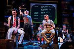 REASONS TO BE CHEERFUL by Sirett;<br /> Stephen Collins as Colin;<br /> Gerard McDermott as Bill/Bobby;<br /> Joey Hickman as Cousin Joey - keyboards;<br /> John Kelly as John - lead vocals;<br /> Directed by Sealey;<br /> Associate director: Beeton;<br /> Writer: Sirett;<br /> Designer: Ashcroft;<br /> Assistant designer: Charlesworth;<br /> Lighting designer: Scott;<br /> Sound designer: Gibson;<br /> Musical director: Hickman;<br /> Choreographer: Smith;<br /> Video designer: Haig;<br /> Projection design: Mclean; <br /> Music supervisor and Arrangements: Hyman;<br /> Voice coach: Holt; Casting: Hughes CDG<br /> BSL consultant: Jackson<br /> Audio description consultant: Oshodi<br /> Graeae Theatre Company;<br /> at The Belgrade Theatre, Coventry, UK;<br /> 8 September 2017;<br /> Credit: Patrick Baldwin;