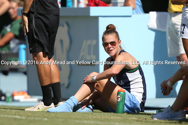 21 August 2016: North Carolina's Joanna Boyles, redshirting for the season for medical reasons, watches the game from the sideline. The University of North Carolina Tar Heels hosted the University of North Carolina Charlotte 49ers in a 2016 NCAA Division I Women's Soccer match. UNC won the game 3-0