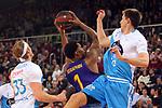 League ACB-ENDESA 2018/2019. Game: 14.<br /> FC Barcelona Lassa vs Monbus Obradoiro: 79-73.<br /> Kyle Singler, Kevin Seraphin &amp; Vladimir Brodziansky.
