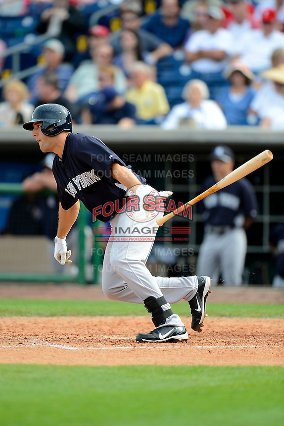 New York Yankees outfielder Rob Segedin #99 at bat during a Spring Training game against the Philadelphia Phillies at Bright House Field on February 26, 2013 in Clearwater, Florida.  Philadelphia defeated New York 4-3.  (Mike Janes/Four Seam Images)