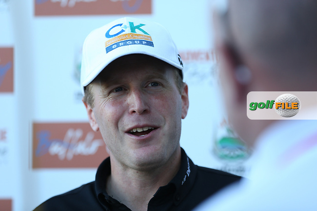 Matt Ford (ENG) being interviewed after completing Round Three of the Africa Open 2015 at the East London Golf Club, East London, Eastern Cape, South Africa. Picture:  David Lloyd / www.golffile.ie. 07/03/2015
