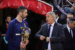 Turkish Airlines Euroleague 2017/2018.<br /> Regular Season - Round 23.<br /> FC Barcelona Lassa vs R. Madrid: 74-101.<br /> Juan Carlos Navarro &amp; Svetislav Pesic.