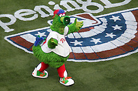 Philadelphia Phillies mascot the Phillie Phanatic before their home opener against the Miami Marlins at Citizens Bank Park on April 9, 2012 in Philadelphia, Pennsylvania.  Miami defeated Philadelphia 6-2.  (Mike Janes/Four Seam Images)