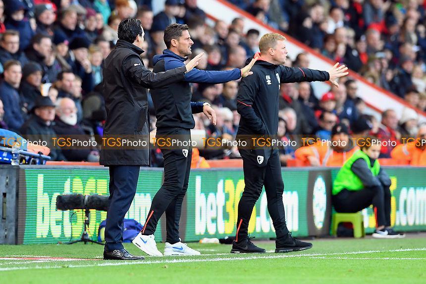 Arsenal Manager Unai Emery left, AFC Bournemouth Assistant Manager Jason Tindall and  Manager Eddie Howe during AFC Bournemouth vs Arsenal, Premier League Football at the Vitality Stadium on 25th November 2018