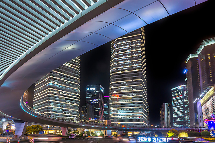 Modern office buildings in Pudong area of Shanghai.