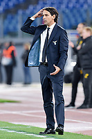 7th November 2019, Rome, Italy; UEFA Europa League football , group stages, Lazio versus Glasgow Celtic;  Simone Inzaghi looks pensive as his team struggle in the 2nd half - Editorial Use