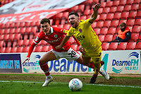 Barnsley's Callum Styles brings down Fleetwood Town's Lewis Coyle<br /> <br /> Photographer Richard Martin-Roberts/CameraSport<br /> <br /> The EFL Sky Bet League One - Barnsley v Fleetwood Town - Saturday 13th April 2019 - Oakwell - Barnsley<br /> <br /> World Copyright &copy; 2019 CameraSport. All rights reserved. 43 Linden Ave. Countesthorpe. Leicester. England. LE8 5PG - Tel: +44 (0) 116 277 4147 - admin@camerasport.com - www.camerasport.com