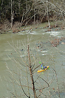 NWA Democrat-Gazette/FLIP PUTTHOFF <br /> A paddler makes his way down the Mulberry River as seen March 26 2017 along Arkansas 215.