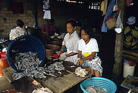 Women preparing fish for drying