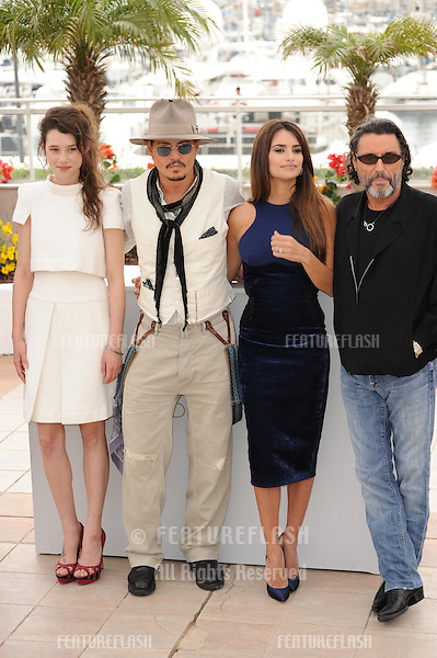 "Johnny Depp; Penelope Cruz, Astrid Berges-Frisbey (left) & Ian McShane at the photocall for their movie ""Pirates of the Caribbean: On Stranger Tides"" at the 64th Festival de Cannes..May 14, 2011  Cannes, France.Picture: Paul Smith / Featureflash"