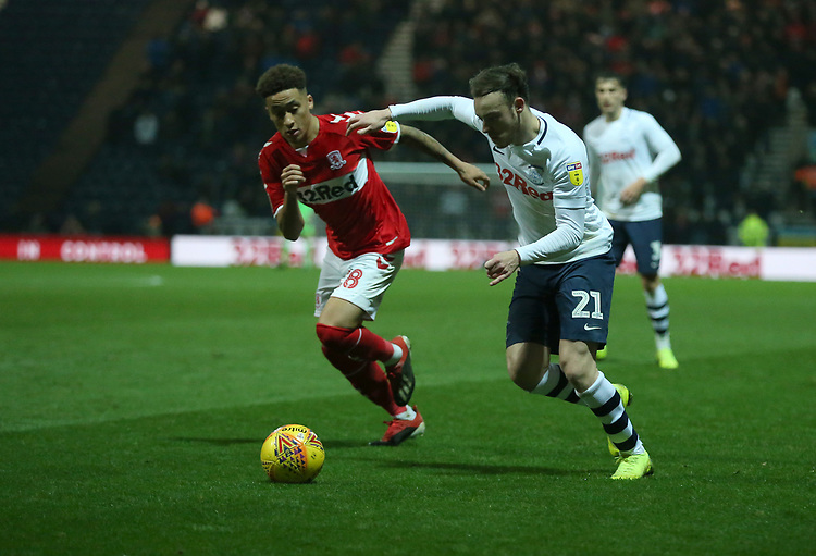 Preston North End's Brandon Barker crosses the ball despite the attentions of Middlesbrough's Marcus Tavernier<br /> <br /> Photographer Stephen White/CameraSport<br /> <br /> The EFL Sky Bet Championship - Preston North End v Middlesbrough - Tuesday 27th November 2018 - Deepdale Stadium - Preston<br /> <br /> World Copyright © 2018 CameraSport. All rights reserved. 43 Linden Ave. Countesthorpe. Leicester. England. LE8 5PG - Tel: +44 (0) 116 277 4147 - admin@camerasport.com - www.camerasport.com