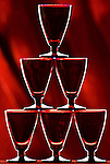 Pyramid of Red Cordial Glasses