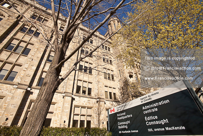 National headquarters of Canada Revenue Agency is pictured at Connaught Building in Ottawa Sunday April 29, 2012. The Canada Revenue Agency (CRA) is a federal agency that administers tax laws for the Government of Canada and for most provinces and territories.