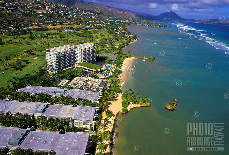 Aerial of the Kahala Mandarin Oriental hotel along the Kahala area coastline, Island of Oahu