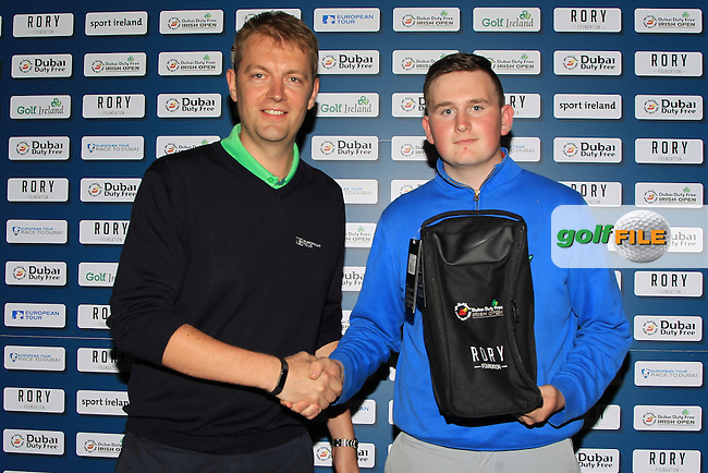 Rory Colville (European Tour) present a prize to Sean Kestell from Charlesland Golf Club for Gents Nearest Pin at the Dubai Duty Free Irish Open Pro-Am Qualifying Competition FINAL at The K Club, Straffan,  Co Kildare. 9/05/2016.<br /> The European Tour and Dubai Duty Free gave golf clubs around the island of Ireland the chance to play with international golf superstars and world famous celebrities in the Dubai Duty Free Irish Open Pro-Am hosted by the Rory Foundation and first qualifier was at Rockmount Golf Course on April 11. There will be a further four regional qualifiers between now and late April and the winners of each regional qualifier will then go forward to compete in the All-Ireland Final, to be held on the Smurfit Course at The K Club in early May.<br /> <br /> The winner of the final round will receive a team invitation for the Dubai Duty Free Irish Open Pro-Am. This initiative is part of Europe&rsquo;s Race to Dubai Champion Rory McIlroy&rsquo;s five-point plan to drum up support for the Dubai Duty Free Irish Open from Ireland&rsquo;s 420 golf clubs, as well as helping to further develop the game of golf in Ireland. For more information on the 2016 Dubai Duty Free Irish Open hosted by the Rory Foundation or to purchase tickets www.dubaidutyfreeirishopen.com.<br /> Picture: Golffile | Thos Caffrey<br /> <br /> <br /> All photo usage must carry mandatory copyright credit (&copy; Golffile | Thos Caffrey)