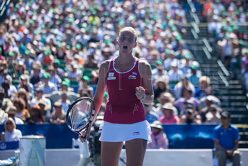 09.08.2015. Stanford, California, USA.  Karolina Pliskova (CZE) reacts to a play during the finals of the Bank of the West Classic at Stanford University's Taube Family Tennis Center in Stanford, Calif. Pliskova, who was seeded 4th in the tournament, fell to Angelique Kerber (GER), seeded 5th, after a three-set match.