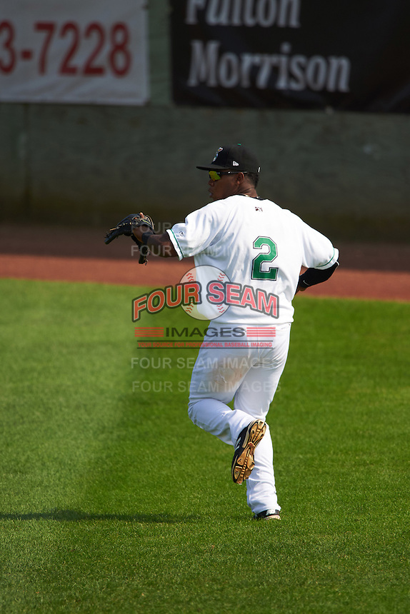 Clinton LumberKings outfielder Burt Reynolds (2) fields a hit during a game against the Great Lakes Loons on August 16, 2015 at Ashford University Field in Clinton, Iowa.  Great Lakes defeated Clinton 3-2.  (Mike Janes/Four Seam Images)