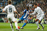 Real Madrid´s Raphael Varane (R) and Espanyol´s Mamadou during 2015/16 La Liga match between Real Madrid and Espanyol at Santiago Bernabeu stadium in Madrid, Spain. January 31, 2016. (ALTERPHOTOS/Victor Blanco)