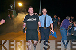 Rumble in Listowel : Listowel Garda Colin McCarthy is escorted into the ring by his colleague Garda Declan McDonagh  in the white collar boxing charity event organized by the Kerry Crusaders in The Listowel Community Centre on Friday night last.