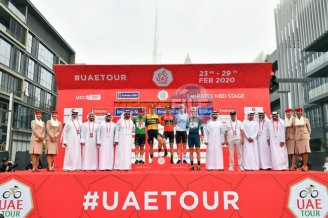 The jersey holders on the podium after Stage 4 the Emirates NBD Stage of the UAE Tour 2020 running 173km from Dubai Zabeel Park to Dubai City Walk, Dubai. 26th February 2020.<br /> Picture: LaPresse/Massimo Paolone | Cyclefile<br /> <br /> All photos usage must carry mandatory copyright credit (© Cyclefile | LaPresse/Massimo Paolone)