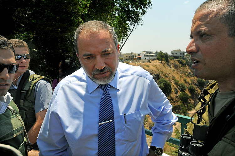 ISRAEL Rajar<br /> <br /> Israel's Foreign Minister Avigdor Lieberman visits Rajar, a village divided between Israel and Lebanon, on the border between the two countries.