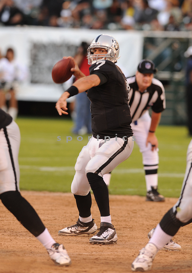 KYLE BOLLER, of the Oakland Raiders, in action during the Raiders game against the New Orleans Saints on August 28, 2011 at O.co Coliseum in Oakland, CA. The Saints beat the Raiders 40-20.